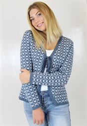 Picture of Alicia Cardigan Dove Blue/Creme