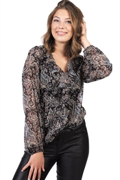 Picture of Lotus Blouse Black/Petrol/Sand/Silver