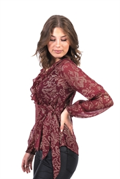 Picture of Fantine Wrap Blouse Wine/Gold