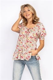 Picture of Clara Blouse - Peach Coral/Creme